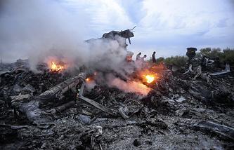 На месте крушения пассажирского самолета Boeing 777 в Донецкой области, 17 июля 2014 года