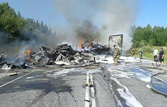 На месте аварии  в Козульском районе