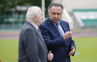 И.о. президента РФС Никита Симонян и министр спорта РФ Виталий Мутко