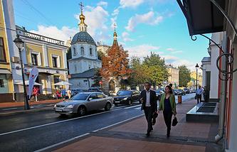 На Большой Никитской улице, открытой после реконструкции