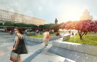 Макет проекта комплексного благоустройства и перспективного развития Триумфальной площади. 2014 год