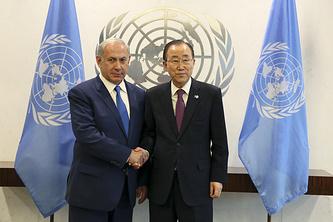 Премьер-министр Израиля Биньямин Нетаньяху и генеральный секретарь ООН Пан Ги Мун