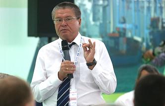 Министр экономического развития РФ Алексей Улюкаев в главном медиацентре на территории Олимпийского парка