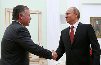 Король Иордании Абдалла II и президент РФ Владимир Путин, 2014 год