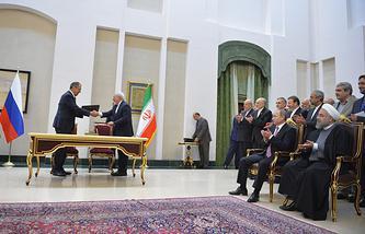 Церемония подписания совместных документов по итогам российско-иранских переговоров, 2015 год