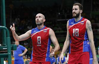 Волейболисты сборной России Сергей Тетюхин и Александр Волков