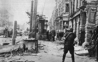 24th July 1942: German soldiers fire the last shots in their mopping up operations in the main streets of Rostov. It was their second conquest of the city, where the tenacious Russian snipers kept them occupied even after the town had fallen