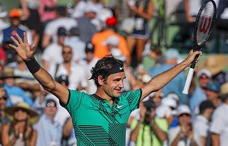 Роджер Федерер после победы в четвертьфинале турнира в Майами