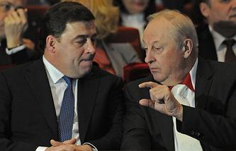Врио главы региона Евгений Куйвашев и первый губернатор Свердловской области Эдуард Россель