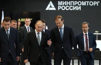 Евгений Куйвашев, Владимир Путин, Денис Мантуров и Аркадий Дворкович, Екатеринбург