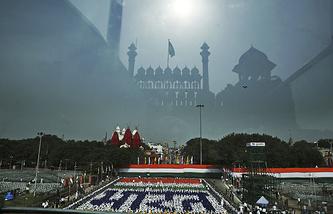 Вид с площадки у Красного форта в Нью-Дели, откуда премьер-министр зачитывает послания ко Дню независимости Индии