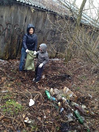 Во время уборки мусора