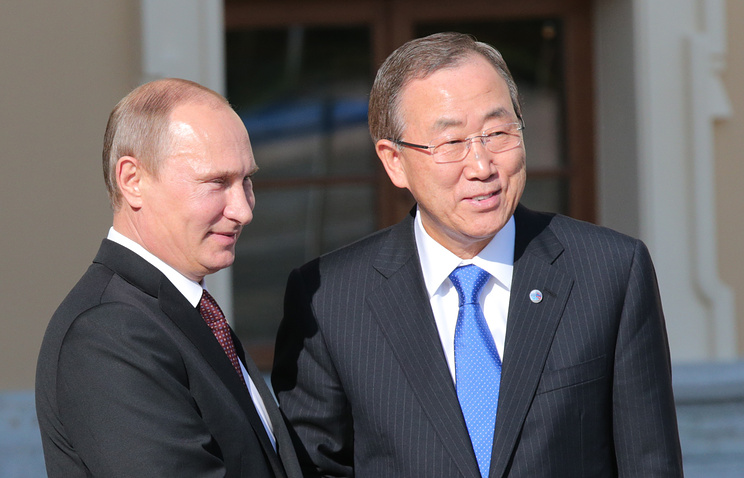 Russian President Vladimir Putin and UN Secretary-General Ban Ki-moon