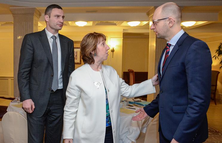 Ukrainian opposition leaders with the head of EU diplomacy Catherine Ashton