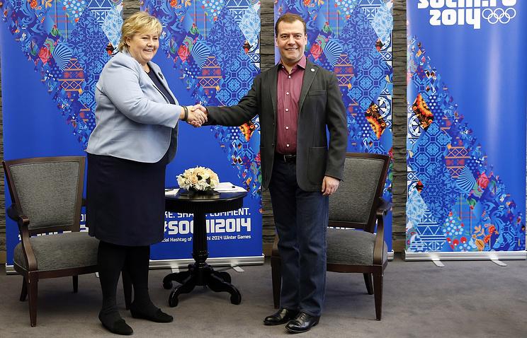 Erna Solberg and Dmitry Medvedev