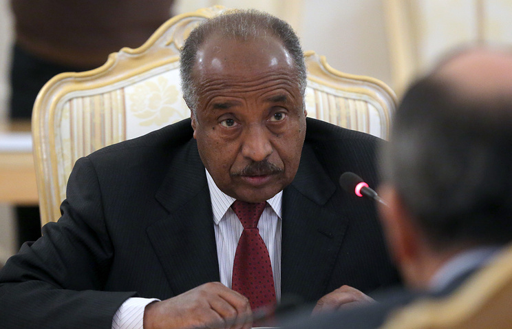 Eritrean Foreign Minister Osman Saleh Mohammed (L) talks to his Russian counterpart Sergei Lavrov (R)