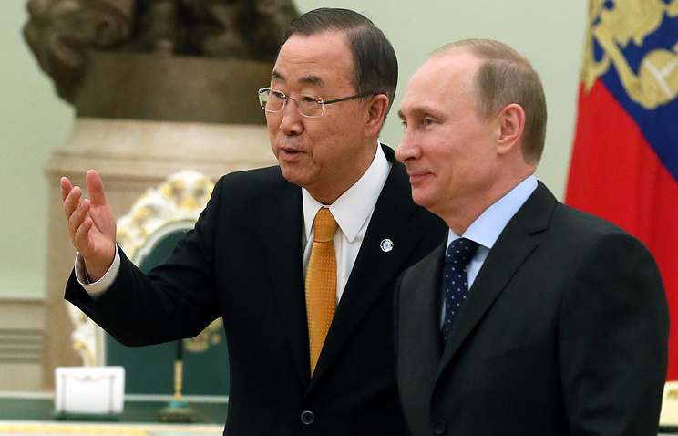 United Nations Secretary-General Ban Ki-moon and Russian President Vladimir Putin