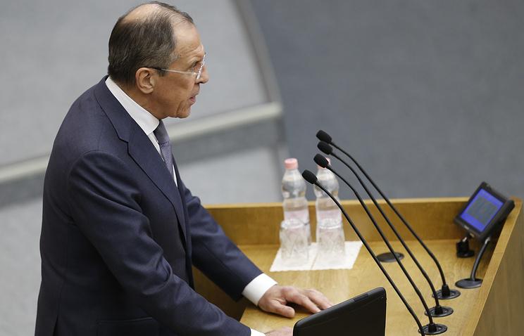 Sergei Lavrov making a speech at the State Duma