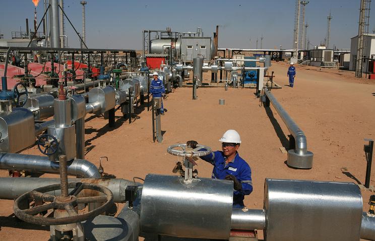 Oil extraction site in Kazakhstan