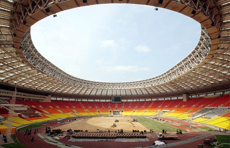 Inside the Luzhniki Olympic Stadium in Moscow
