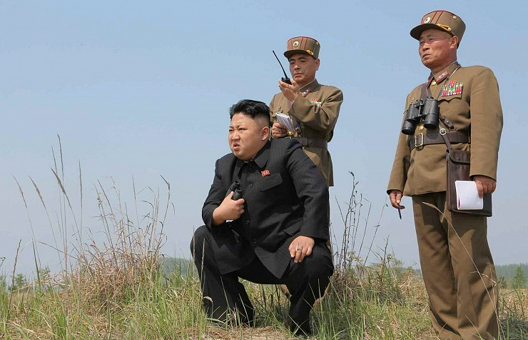 North Korean leader Kim Jong-un watches the drills