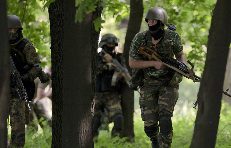 Militia fighters near Donetsk airport on May 26