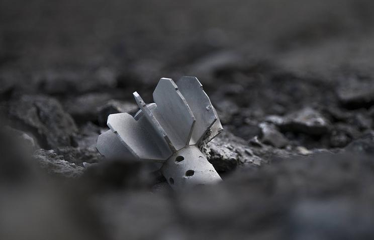 Part of a mortar shell seen in Sloviansk