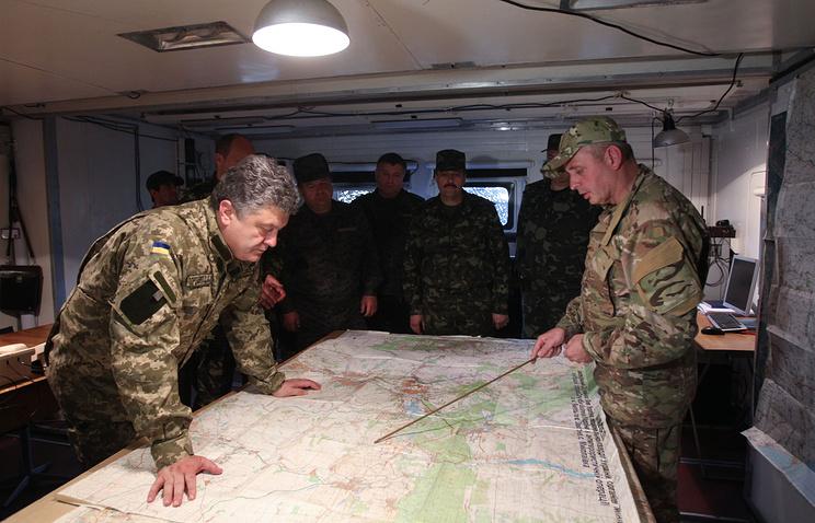 President Petro Poroshenko in the center of the military operation in Ukraine's east