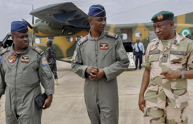 Nigerian Army General Staff Gen.-Maj. Chris Olukolade (right), Air Commanders Emma Anebi (center) and Remi Ekeh (left)