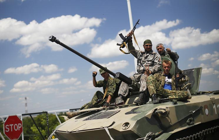 Militia fighters in Ukraine's Donetsk Region