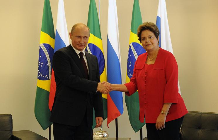 Russian President Vladimir Putin and his Brazilian counterpart Dilma Rousseff