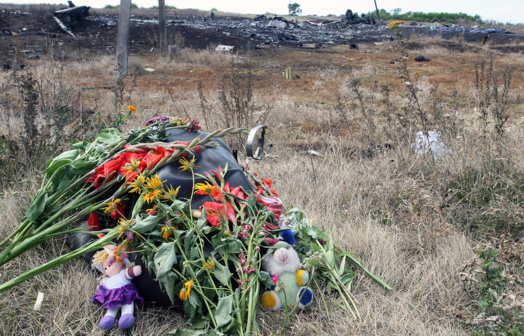 Flowers at the MH17 crash site in eastern Ukraine