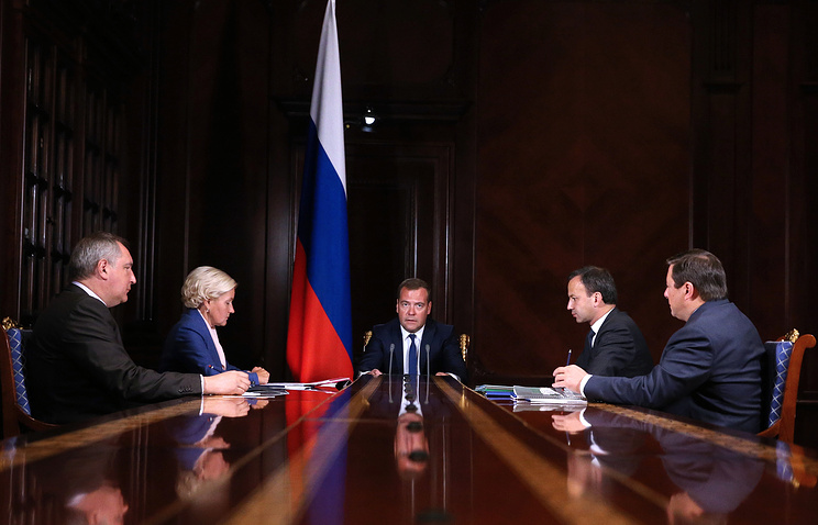 Russian Prime Minister Dmitry Medvedev in a meeting with deputy prime ministers