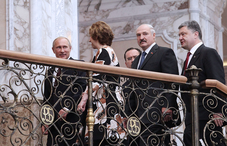 Russia's president Vladimir Putin, high representative of the EU for foreign affairs and security policy, Catherine Ashton, Belarusian president Alexander Lukashenko, and Ukraine's president Petro Poroshenko (L-R)