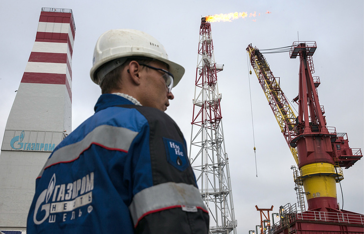 A Gazprom Neft employee seen on the Prirazlomnaya oil rig