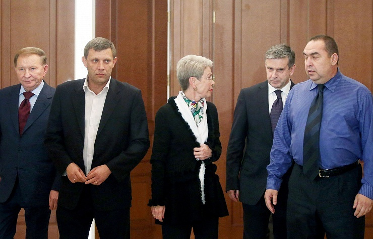 Participants of the tripartite contact group meeting (Ukraine - OSCE - Russia) for settling the Ukrainian crisis. September 5, 2014