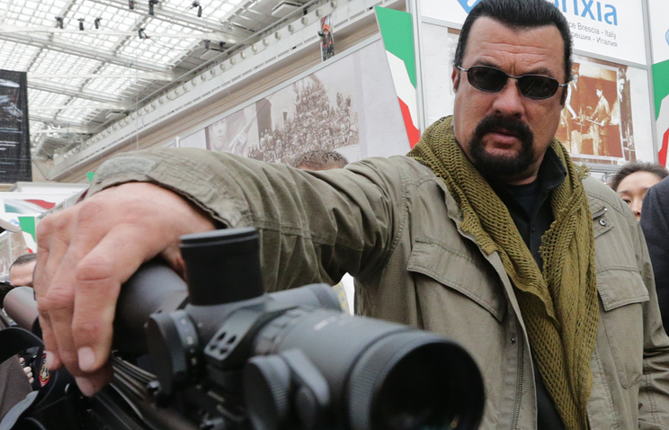 Steven Seagal at an arms exhibition in Russia