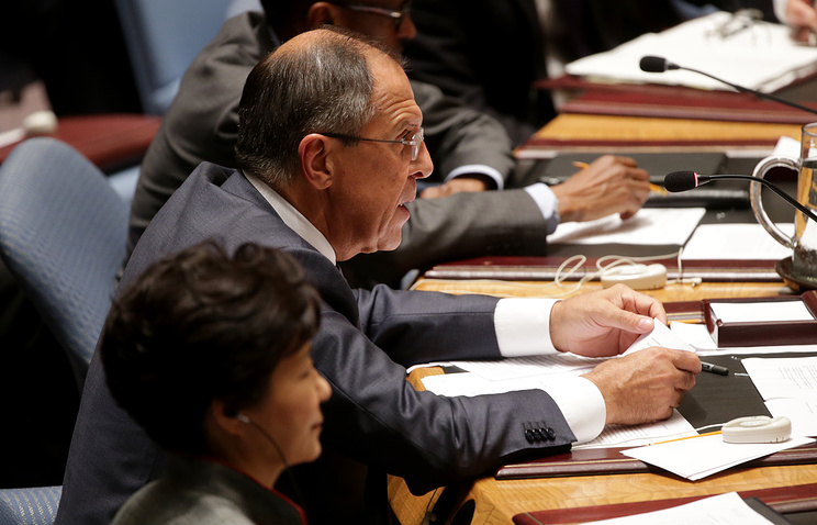 Sergey Lavrov, the Foreign Minister of Russia, speaks during a high-level United Nations Security Council meeting about worldwide terrorism during the 69th session of the United Nations General Assembly at United Nations headquarters in New York
