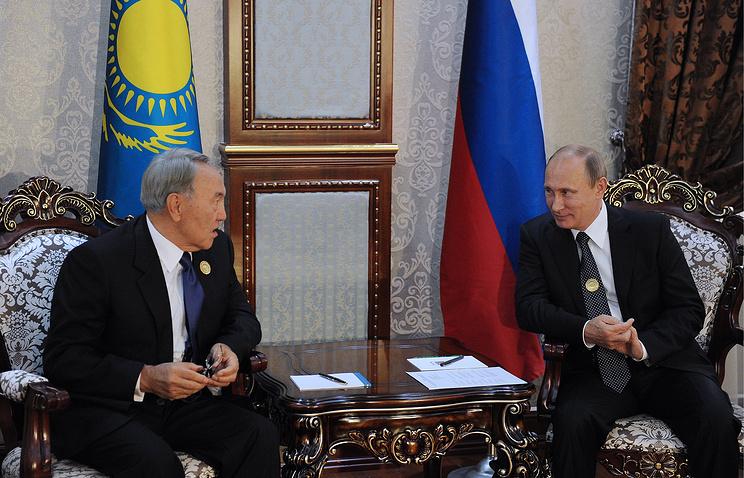 Nursultan Nazarbayev and Vladimir Putin