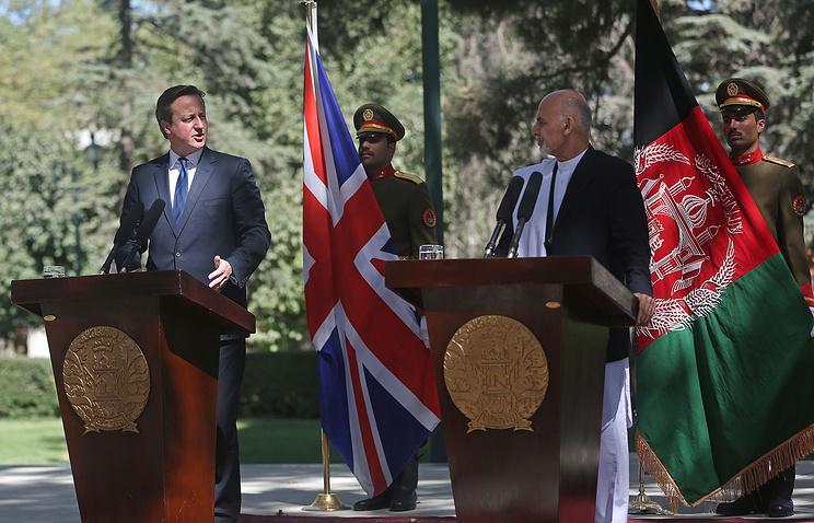 David Cameron and Ashraf Ghani Ahmadzai during a news conference in Kabul, Afghanistan
