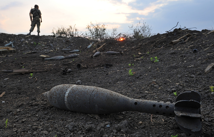 A shell seen on the Ukraine-Russia border (archive)