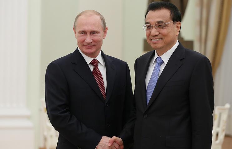 Russian President Vladimir Putin and Chinese Prime Minister Li Keqiang