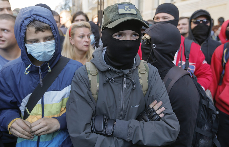 Right Sector nationalist group activists rally in Kiev, Ukraine, 17 September 2014