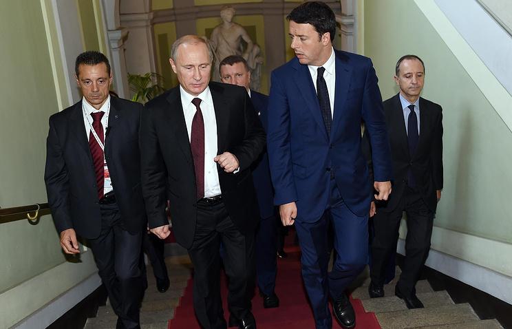 Vladimir Putin and Minister Matteo Renzi