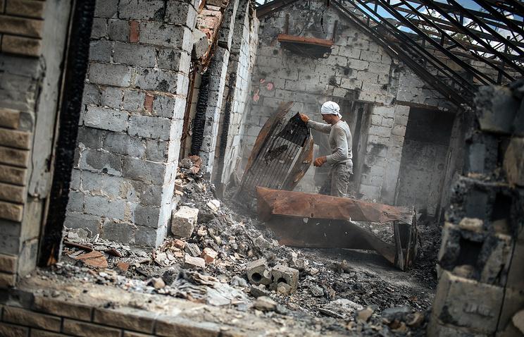 Destroyed building in eastern Ukraine