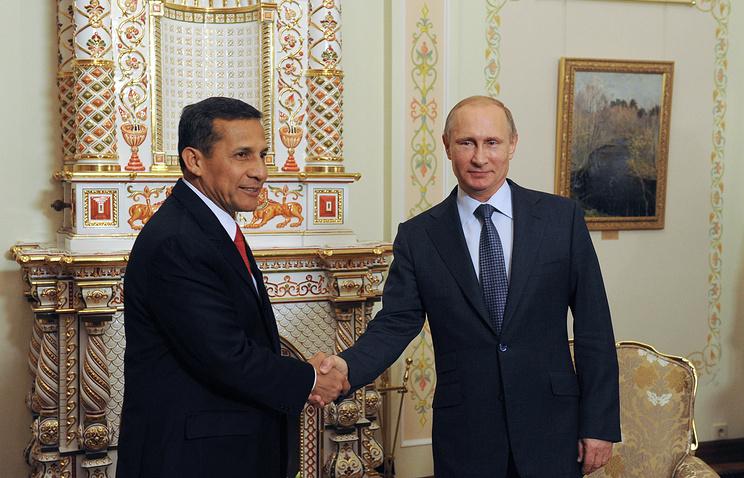 Peruvian President Ollanta Humala and Russian President Vladimir Putin