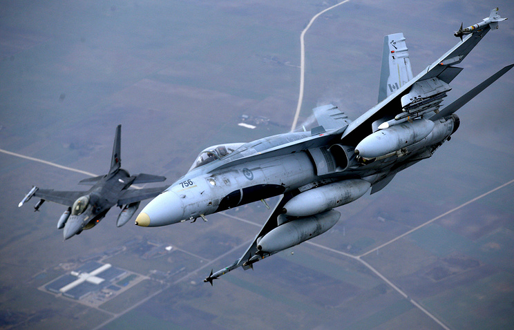 Military fighter jets participating in NATO's Baltic Air Policing Mission operate in Lithuanian airspace