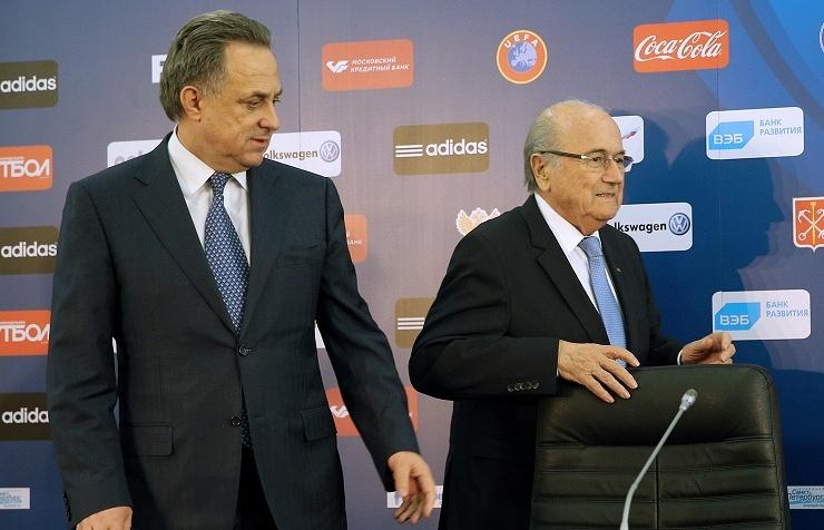Russian Sports Minister Vitaly Mutko and FIFA President Sepp Blatter