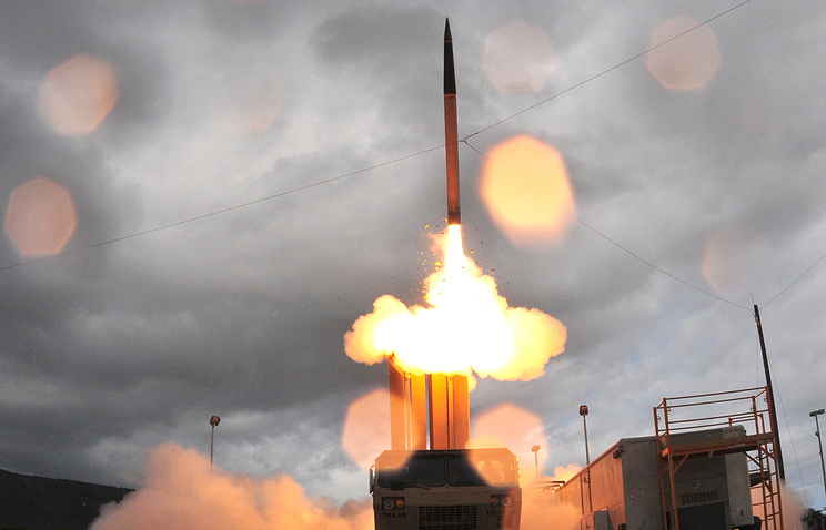 Terminal High Altitude Area Defense system, or THAAD missile being launched