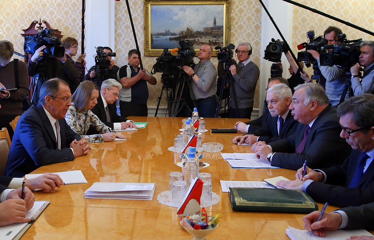 Russian foreign minister Sergey Lavrov at the meeting with the president of the French Senate, Gerard Larcher
